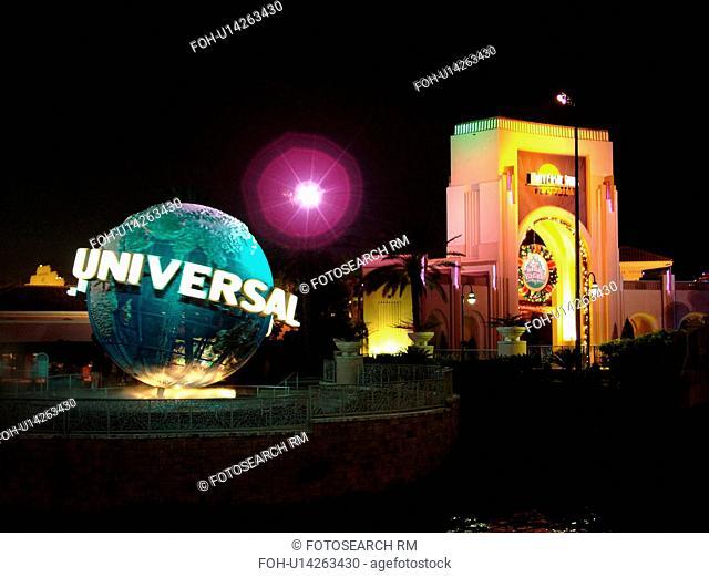 Orlando, FL, Florida, Universal Studios, Universal Orlando Resort, Universal Studios Globe, evening