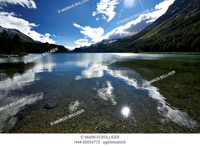 Silsersee, lake, Graubünden, the Engadine, mountain lake, Oberengadin, sky, clouds, waters, waters, the sun, reflexion, light