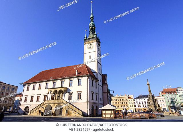 Town Hall and Holy Trinity Column at Upper Square (Horni nam) in Olomouc, Moravia, Czech Republic, Central Europe
