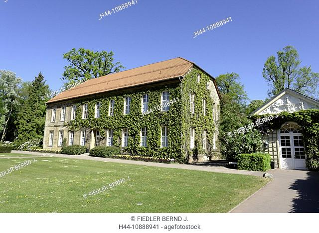 Germany, Lower Saxony, Bad Driburg, Health resort park, Droste Hülshoff house, home, architecture, building, construction, trees, plants, place of interest