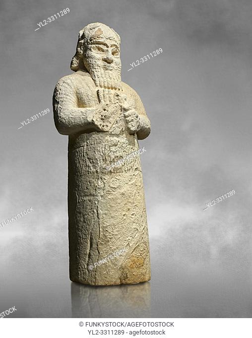 Hittite monumental statue probably of Tarhunda, the Storm God, standing on a cart being pulled by two bulls. Adana Archaeology Museum, Turkey