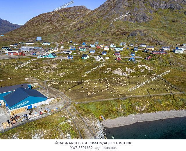 Narsaq town, Tunulliarfik Fjord, South Greenland