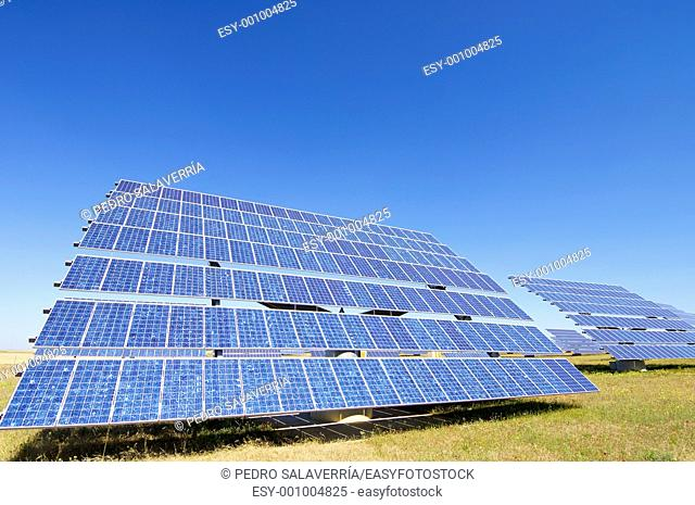 photovoltaic panel for renewable electric energy production in Sadaba, Saragossa province, Aragon, Spain