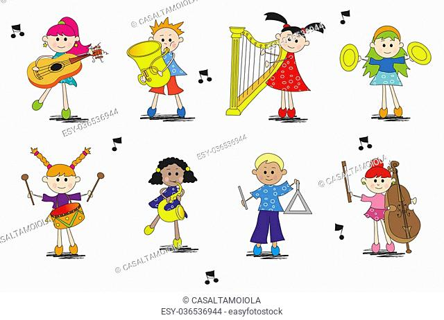 illustration of children with different type of instrument