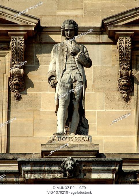 FRANCE, PARIS, 01.05.2007, Statue of french political philosopher Jean-Jacques ROUSSEAU at the facade of The Louvre Museum - Palais Royal. Paris