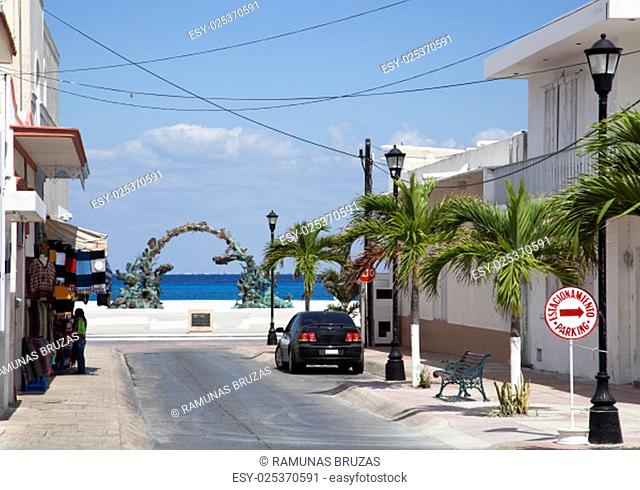 The empty streets of San Miguel resort town on Cozumel island (Mexico)
