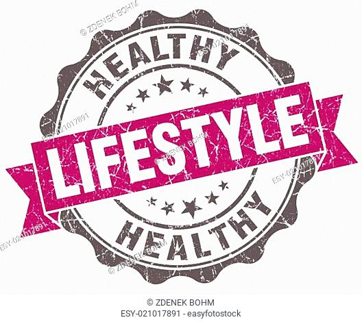 Healthy lifestyle violet grunge retro vintage isolated seal