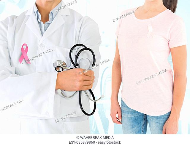 Breast cancer doctor and woman with pink awareness ribbon