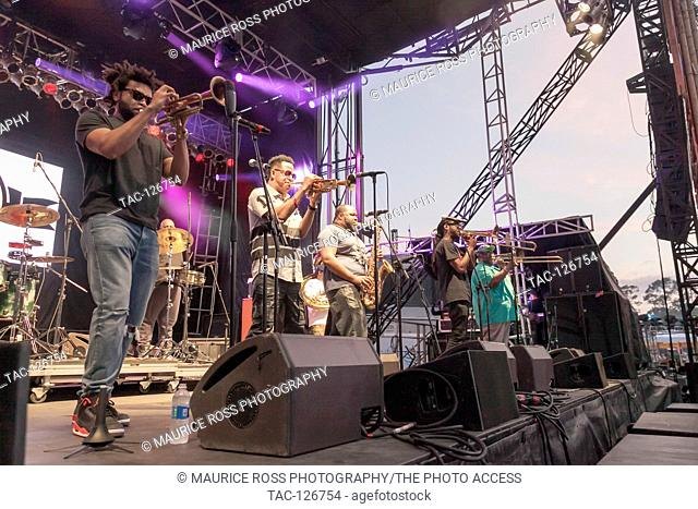 The Soul Rebels Band performs at the Okeechobee Music and Arts Festival in Okeechobee Florida March 5, 2016