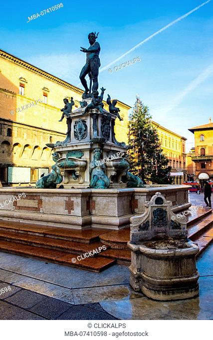 Fountain of Neptune in Bologna, Emilia Romagna, Italy, Europe, European, Western Europe, Southern Europe