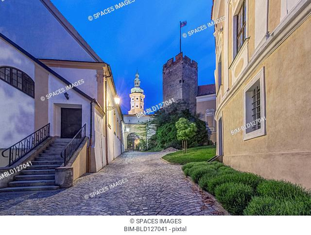 Illuminated alley and tower, Mikulov, Southern Moravia, Czech Republic