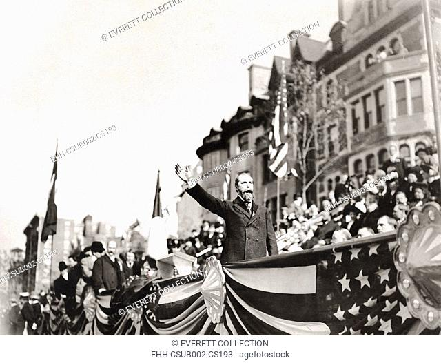 New York Governor Charles Evans Hughes dedicating the Sigel monument in Riverside Park, NYC. Oct. 23, 1907. 100,000 attended the ceremony at the equestrian...