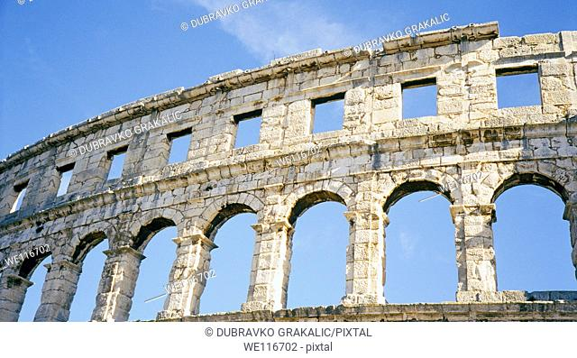 Ancient roman colosseum in croatian city of Pula, Istria