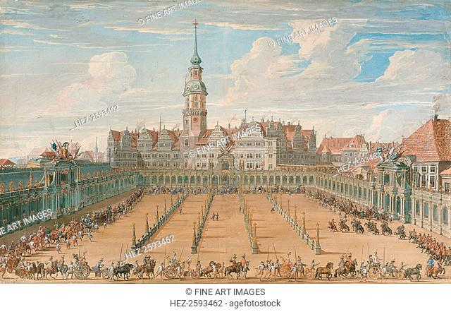 Parade of the Ladies' Ring Races on Juny 6, 1709 in Dresden, 1710. Found in the collection of the Dresden State Art Collections