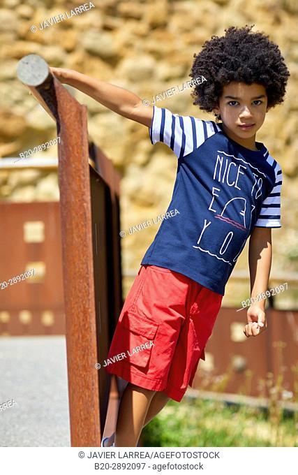 Boy, Mollarri Interpretation Center, Marine clothing, Zarautz, Gipuzkoa, Basque Country, Spain, Europe