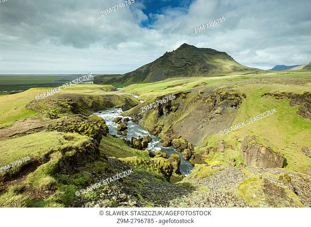 Mountains at Skogafoss waterfall, south Iceland