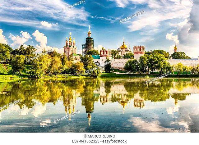 Idillic view of the Novodevichy Convent monastery in Moscow, Russia. UNESCO world heritage site