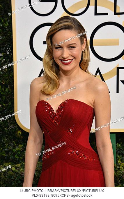Brie Larson at the 74th Golden Globe Awards at The Beverly Hilton Hotel, Los Angeles, CA , USA , January 8, 2017
