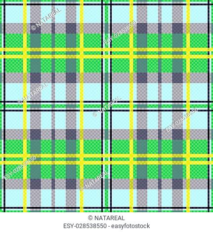 Seamless rectangular vector pattern as a tartan plaid mainly in green, yellow and light blue colors