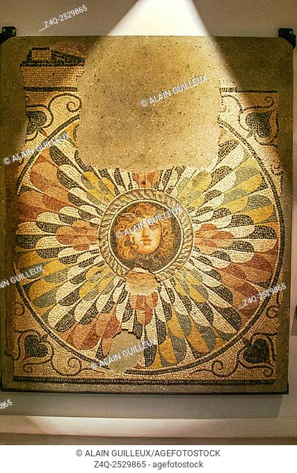 Egypt, Alexandria, National Museum, mosaic representing a Medusa mask, 2nd century AD, found during excavations of the Diana theater
