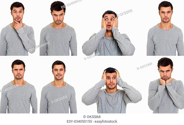 Portraits with different emotions of a young man