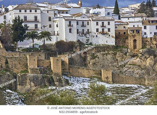 Old city walls, Ronda, Winter, Malaga province, Andalusia, Spain, Europe