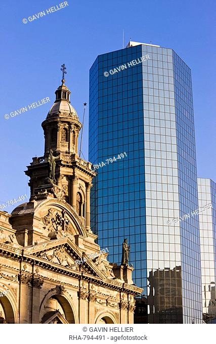 Cathedral Metropolitana and modern office building in Plaza de Armas, Santiago, Chile, South America