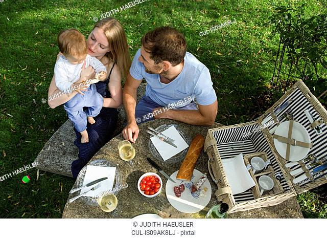 Overhead view of mid adult couple and baby daughter sitting at picnic table in garden