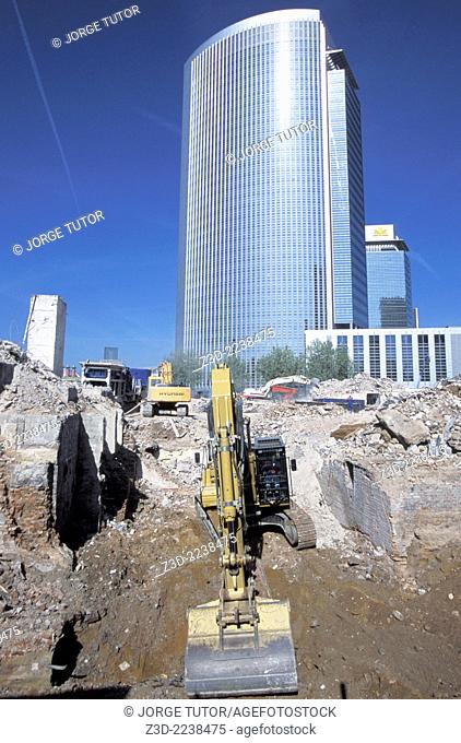 Bulldozer in a business area of Frankfurt, Germany