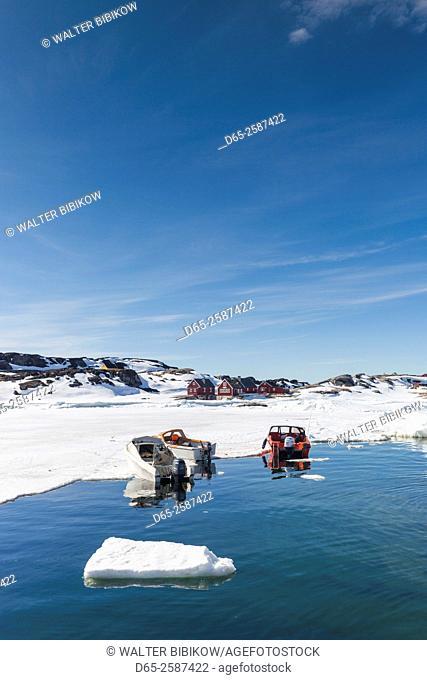 Greenland, Disko Bay, Oqaatsut, village harbor