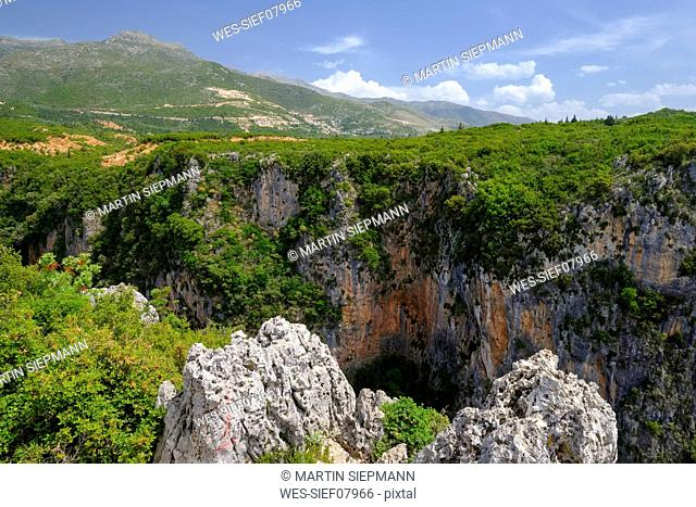 Albania, Vlore County, Canyon of Gjipe