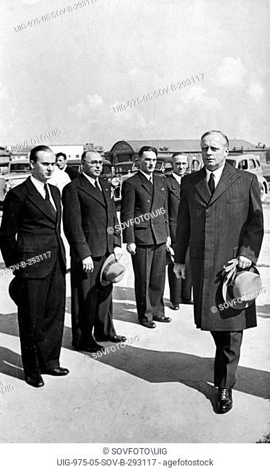 German minister for foreign affairs, joachim von ribbentrop, arrives at the central airport in moscow for the signing of the treaty of non-aggression between...