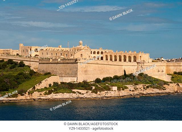 Manoel Fort stands on the of point of Manoel Island in Marsamxett Harbour  Designed as a star fort much of its ditches and walls are formed by the native rock...