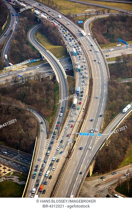 Traffic and congestion on the A42 motorway, transport infrastructure, Duisburg, Ruhr district, North Rhine-Westphalia, Germany