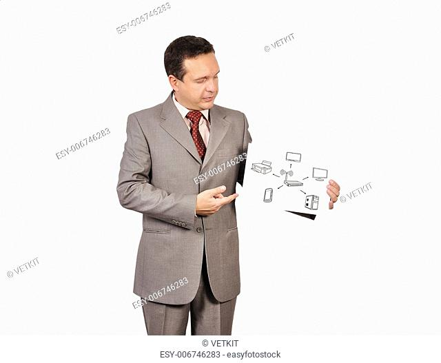 businessman holding poster with wi-fi scheme