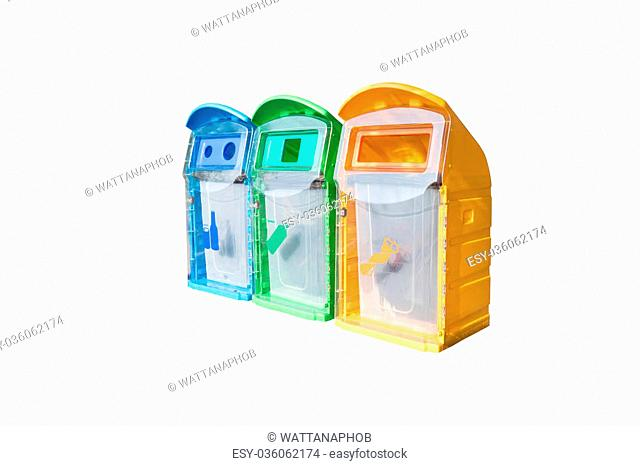 Colorful plastic bins for different waste types isolated on white background