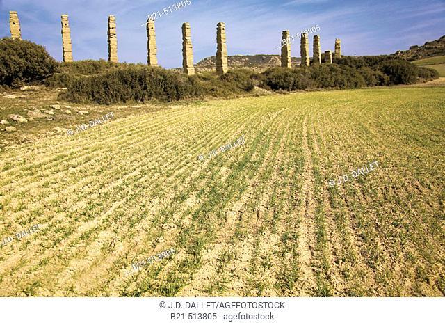 Los Bañales Roman aqueduct, Layana. Cinco Villas, Zaragoza province, Aragón, Spain