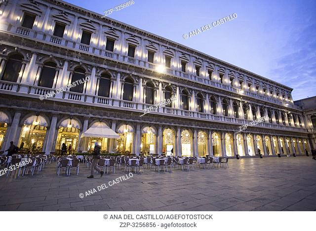 Venice, Veneto, Italy : Twilight at St Marks square