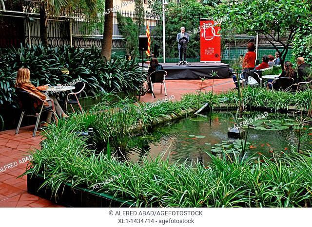 romantic gardens, Ateneu Barcelones, Barcelona, Catalonia, Spain