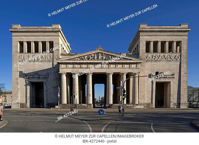 Propylaea, west side, reliefs, architect Leo von Klenze, Königsplatz, Munich, Bavaria, Upper Bavaria, Germany