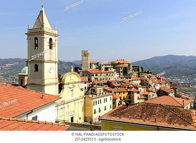 view of historical village on hill top in Liguria inland, Vezzano Ligure, Italy