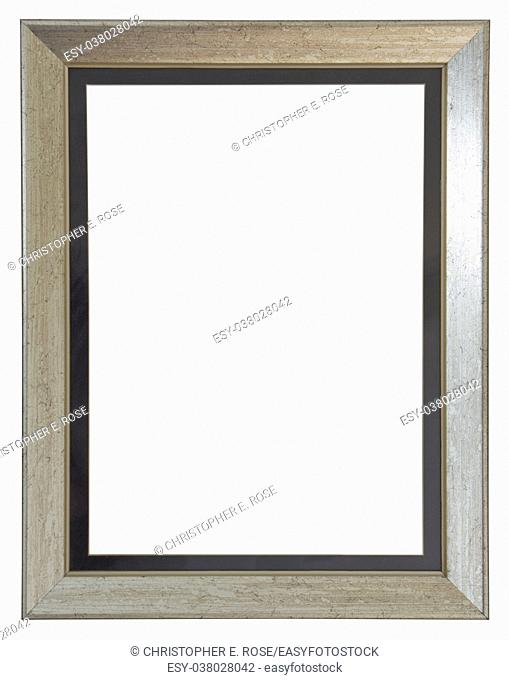 Empty picture frame with a contemporary silver finish with a mount