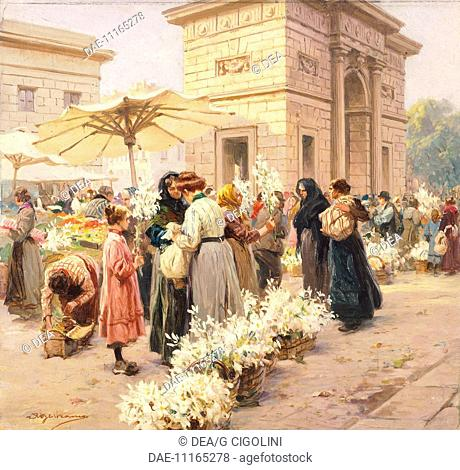 The lily market at Porta Garibaldi in Milan, by Achille Beltrame (1871-1945), from La Domenica del Corriere, Italy 20th Century