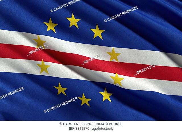 Flag of Cape Verde or the Republic of Cabo Verde waving in the wind