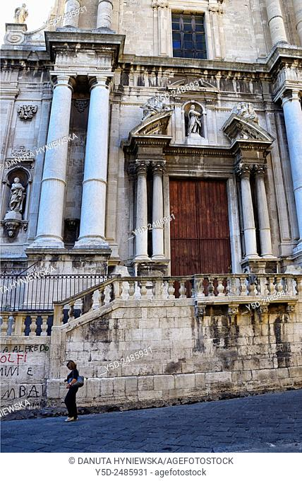 Europe, Italy, Sicily, Catania, old town, Chiesa San Francesco Borgia, previously Chiesa dei Gesuiti, entrance, Via Cruciferi