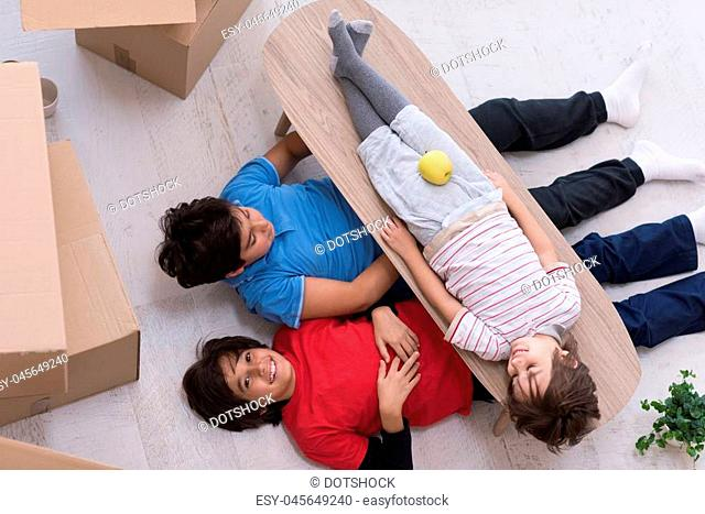 portrait of happy young boys with cardboard boxes around them in a new modern home top view