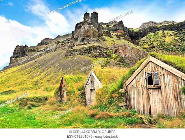 Landscape with old houses, Iceland