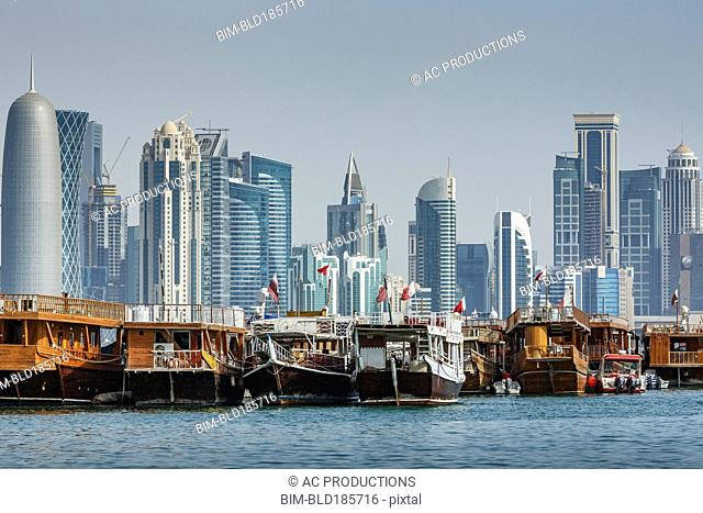 Boats docked in Doha harbor, Doha, Qatar