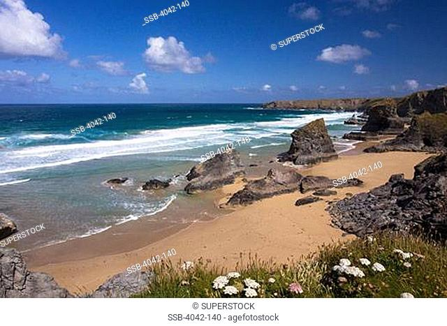 Rock formations at the coast, Cornish Riviera, Bedruthan Steps, Cornwall, England