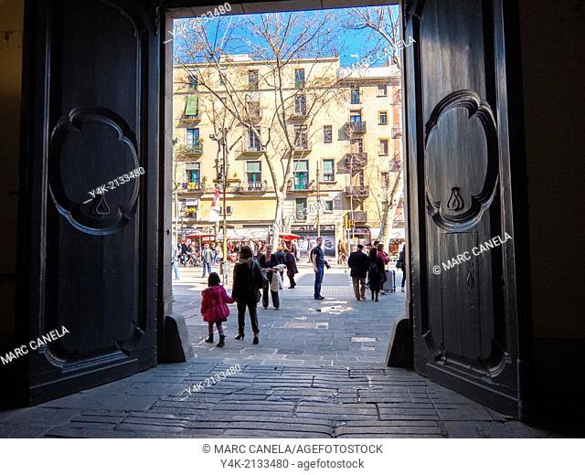 Europe, Spain, Barcelona, virreina.  Palau de la Virreina. Palace on Barcelona's main walking street La Rambla built between 1772 and 1775